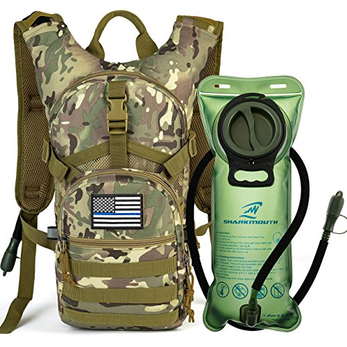 SHARKMOUTH Tactical MOLLE Hydration Pack Backpack 900D with 2L Leak-Proof Water Bladder, Keep Liquids Cool for Up to 4 Hours, Outdoor Daypack for Cycling, Hiking, Running, USA Flag Patch, CPTan
