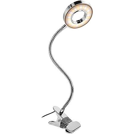 Semlos クリップライト24 LED 電気スタンド 3階段調色 10階段調光 800ルーメン 8w LEDライト 360°回転 読書灯 読書ランプ 目に優しい 記憶機能 仕事 勉強 卓上 勉強機 本棚 ベッドサイド 寝室 書斎 オフィス イーゼル