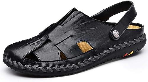 XIAYJ Chaussures d'été Hommes Chaussures en Cuir de qualité Sandales Sandales Sandales Confortables pour Hommes Noir Slip-on Hommes Slipper Brun,noir,EUR38 e95
