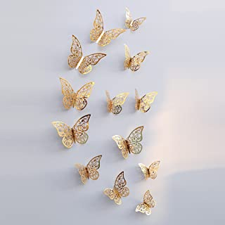 3D Gold Butterfly Wall Stickers 12 Pieces
