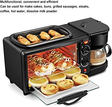 qing niao 3 in 1 Breakfast Machine 1050W, 12L Capacity Multifunctional Oven Non-Stick Grill for Afternoon Tea Supper
