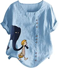 Women Casual Cat Tee Plus Size O-Neck Printed Loose Button Tunic Shirt Blouse Tops