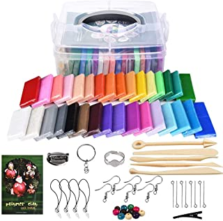 Mixxii Polymer Clay Kit,32 Colors Non-Toxic DIY Soft Modeling Clay Oven Bake Starter Kit with 5 Sculpting Tools and Jewelry Accessories for Kids and Adult