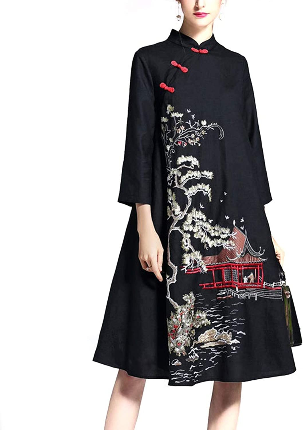 CEFULTY Women's Vintage Stand Collar Embroidered 3 4 Sleeve ALine Dress with Pockets (color   Black, Size   S)
