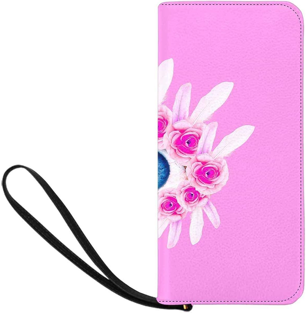 INTERESTPRINT Pink Florals Eye Wristlet Clutch Large Travel Purse Wristlet