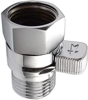 Water Flow Control Valve, Angle Simple Brass Water Pressure Regulator Bathroom Shut Off Valve Turn Off Water Switch Reduce Water Decive for Showerhead Hose Bidet Sprayer Chrome