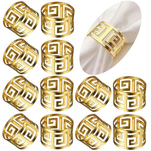 Sayopin Lot de 12 ronds de serviette dorés - Décoration de table - Pour mariage, hôtel, table, décoration de fête