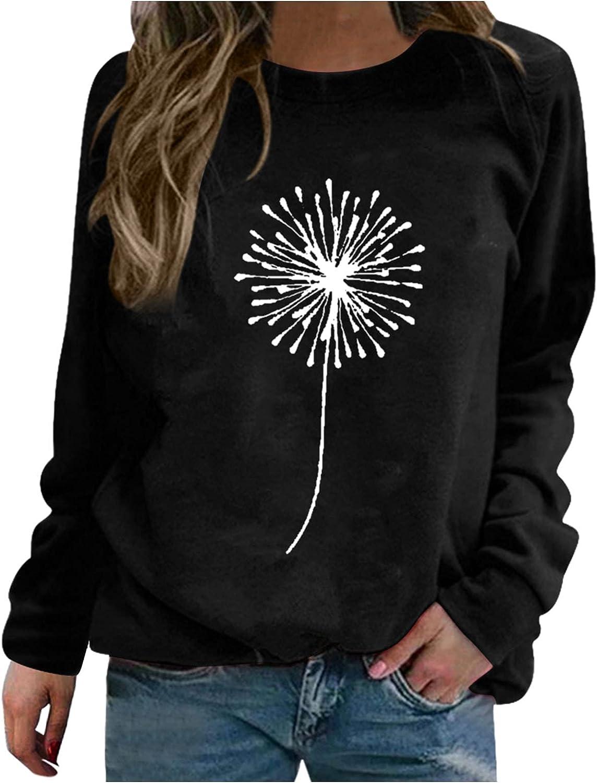 ONHUON Long Sleeve Tee Shirts for Women, Womens Pullover Sunflower Print Sweatshirt Raglan Graphic Loose Tops Blouses