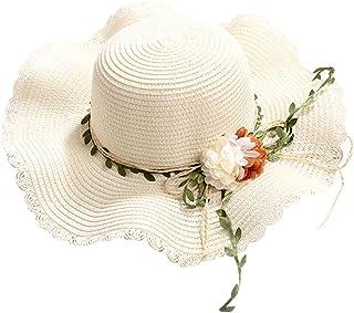 FRAUIT Cappello Donna Estivo Con Visiera Tesa Larga Cappelli Paglia Ragazza Pieghevole Berretto Fiori Cappellino Mare Spiaggia Uncinetto Sun Hat Cap