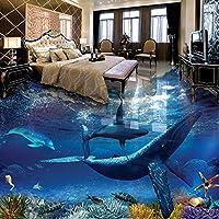 壁紙の壁画大きな壁の絵 カスタム3Dフロアペインティングクジライルカ水中世界バスルームリビングルームベッドルームフロアステッカー壁画壁紙防水-450X300CM