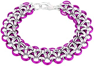 Weave Got Maille Japanese Chain Maille Bracelet Kit-Princess Lace, Raspberry/Silver