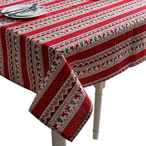 YOUJIA Tischdecke Weihnachtliche Gestreift Gedruckt Tischtuch Großformat Gartentischdecke Pflegeleicht Tischwäsche (Weihnachts Rot, 90 * 90cm)