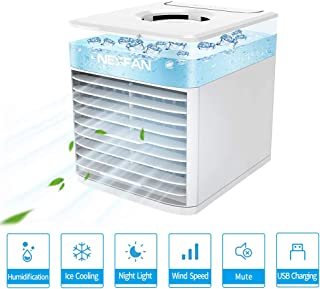 JIMACRO Aire Acondicionado Portátil, NEXFAN Air Cooler Humidificador,USB Oficina Ventilador de Escritorio Aire Personal Enfriador Climatizador para el hogar, al Aire Libre (Blanco)