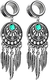 Pair Surgical Steel Screw-Fit Gauges Tunnel Tribal Dangle Plugs Stretcher Ear Piercings 4G-16mm