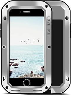 UFinetech Funda iPhone 8 Plus a Prueba de Golpes, Funda iPhone 7 Plus, Parachoques de TPU Funda Protectora de Silicona de Metal Ultra Duro para iPhone 8 Plus/7 Plus Cristal Templado Servicio (Plata)