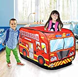 Jukmen Pop Up Kids Play Tent,Portable Foldable Children's Fire Truck Tent Toy, Indoor/Outdoor Game house/Playhouse, Cubby Toddlers & Baby Adventure Station || Red