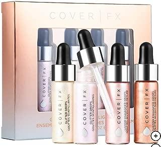 COVER FX Glam & Glow Liquid Lights Set: Celestial (glistening pearl), Rose Gold (warm, pearlescent pink bronze) - Glitter Drops in Mirage (golden champagne), Aurora (multi-tonal pink)