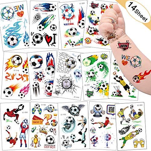 Sporgo Tattoo Kinder, Einhorn Fußball Märchen Kleine Fee und Elfen Halloween Tattoos Set,Temporäre Tattoos Kinder Aufkleber für Kindergeburtstag Mitgebsel Party (Fußball)