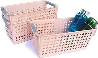Honla Slim Plastic Storage Baskets Bins Organizer with Gray Handles,Set of 3,Pink