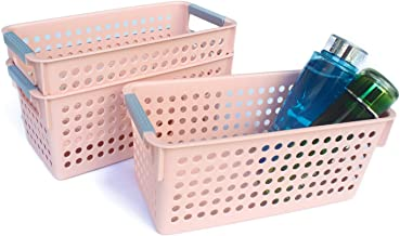 Honla Slim Pink Plastic Storage Baskets/Bins Organizer with Gray Handles,Set of 3