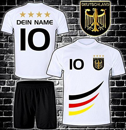 DE-Fanshop Deutschland Trikot + Hose mit GRATIS Wunschname + Nummer + Wappen Typ #D 2019 im EM/WM Weiss - Geschenke für Kinder,Jungen,Baby. Fußball T-Shirt personalisiert