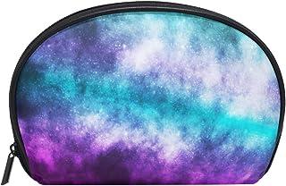 ALAZA Galaxy Nebula Half Moon Cosmetic Makeup Toiletry Bag Pouch Travel Handy Purse Organizer Bag for Women Girls