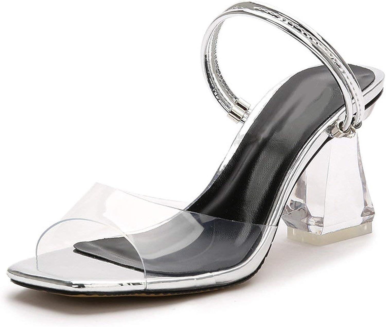 Women Crystal Open Toed High Heels Transparent Sandals 7.5CM Heels Slippers K-199