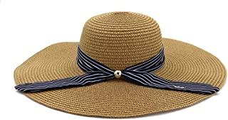Summer hat Sun Hat Holiday Women Stubble Hat Big Beach Hat Sunscreen Easygoing to Carry Fashion Shade hat (Color : Coffee, Size : 56-58CM)