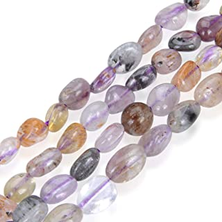 5 Strands Natural Super Seven Quartz Gemstone 6-8mm Free Form Oval Pebbly Stone Beads (Amethyst White Smoky Quartz Cacoxen...