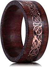 King Will Nature 8mm Wood Ring Rose Gold Celtic Dragon Wedding Band Engagement Ring