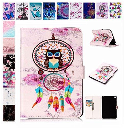 E Mandala Samsung Galaxy Tab A SM T580T585 2016 Hulle Leder Flip Case Tablet PC Tasche mit Kartenfach Ledertasche Lederhulle Traumfanger Feder Eule
