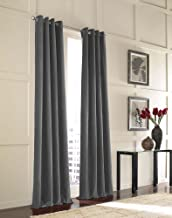 "Curtainworks Messina Grommet Cotton Curtain Panel, 52 by 144"", Grey"