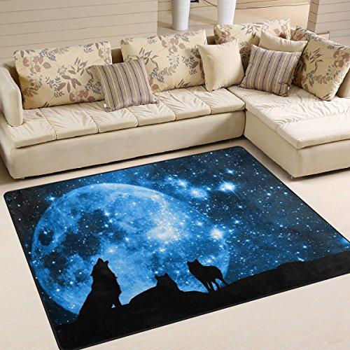 zzkko Animal área alfombra alfombra, lobo contra un cielo azul una estrella con luna llena área alfombra alfombra para dormitorio living habitación dormitorio cocina, multicolor, 5'x7'(150x200 cm)