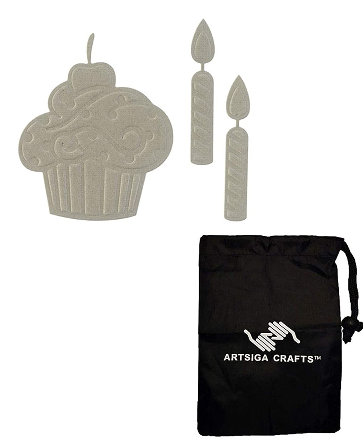 Darice Embossing Die Cuts for Card Making Cupcake w/ 2 Candles 2014-82 Bundle with 1 Artsiga Crafts Small Bag
