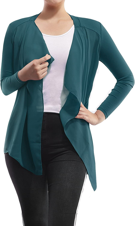AMORE ALLFY Women's Solid Chiffon Front Long Sleeve Cardigan Teal Medium