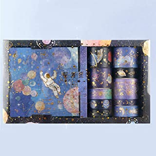 Doraking DIY 10Rolls Foil Gold Decorative Purple Universe Stars Washi Masking Tapes Stickers Set for Scrapbooking, Gift Wr...
