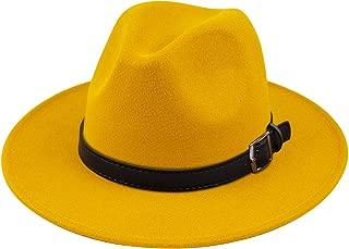 Lanzom Women Men Retro Style Wide Brim Panama Hat Belt Buckle Wool Fedora Hat