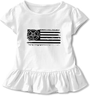 CZnuen Rock and Roll Hand Baby Girls Round Neck Short Sleeve Ruffle T-Shirt Top