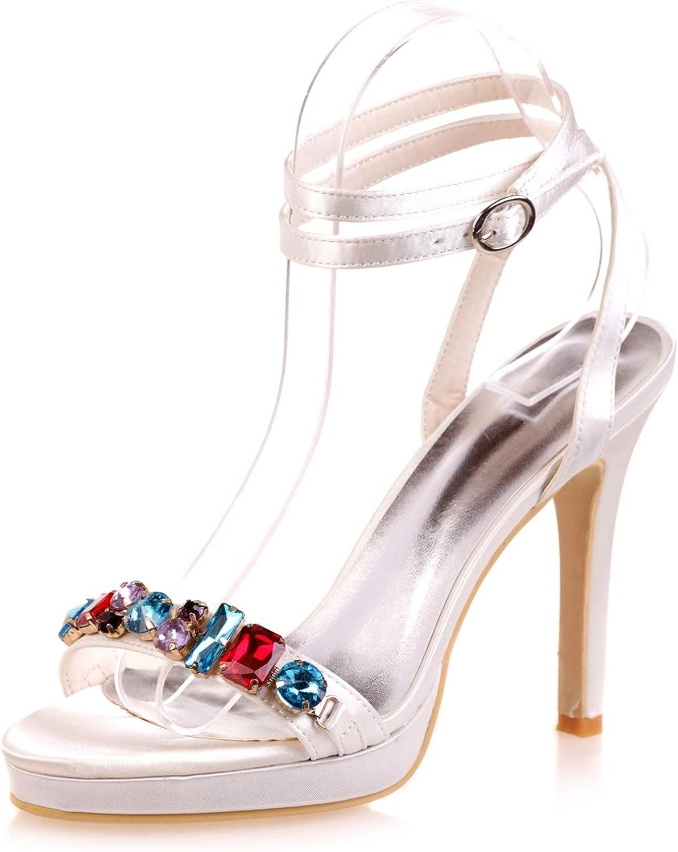Frauen Hochzeit Schuhe Schuhe Für Die Braut, Elfenbein High Heels, Satin Größe Peep Toe Brautjungfer Herbst Seide   8,5 Cm absatz  willkommen zu wählen