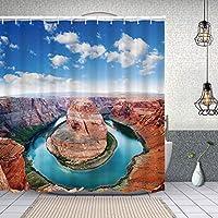 シャワーカーテンホースシューベンドノースリムグランドキャニオンページアリゾナの有名な観光スポット 防水 目隠し 速乾 高級 ポリエステル生地 遮像 浴室 バスカーテン お風呂カーテン 間仕切りリング付のシャワーカーテン 150 x 180cm