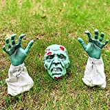 MAIAGO Halloween Decorations, Realistic Zombie Face and Arms Lawn Stakes, Green Zombie Skeleton Head with Blood and Hands Garden Stakes for Best Halloween Graveyard Décor, Coffin Party, Haunted House