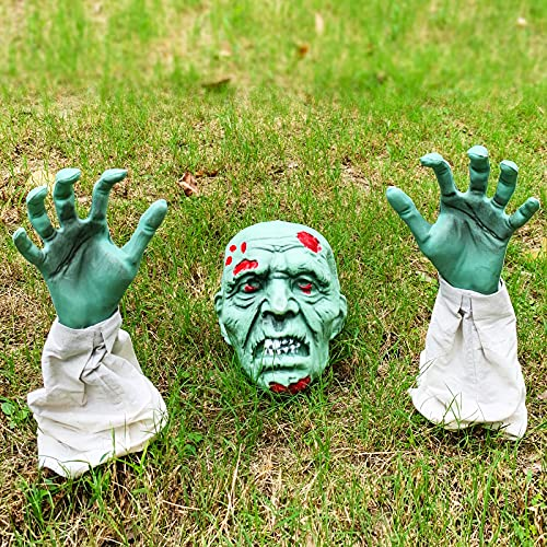 MAIAGO Halloween Decorations, Realistic Zombie Face and Arms Lawn Stakes, Green Zombie Skeleton Head...