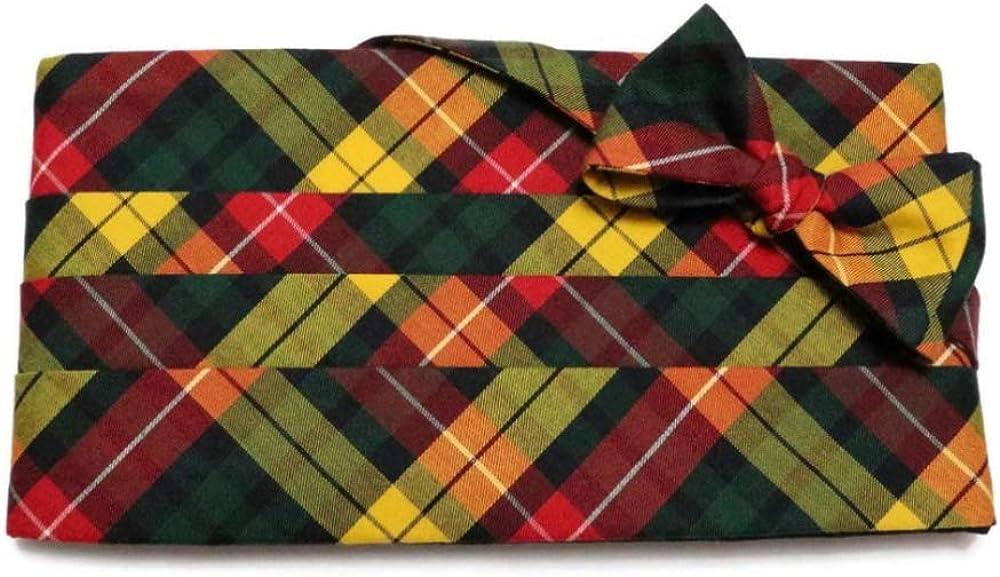 Buchanan Red Yellow Tartan Plaid Cummerbund and Pre-Tied Bow Tie Set
