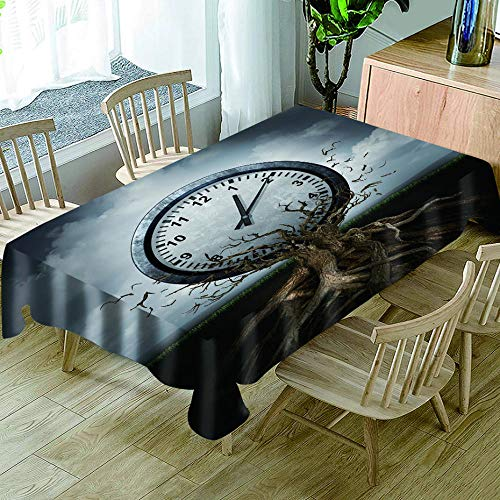 WYRRIG Reloj De Raiz De Árbol Mantel De Hule Mantel Grande Limpiar Mantel Limpio Comedor Cocina Cubierta De Mesa Protector Hoja Impresion 3D, 140X140Cm