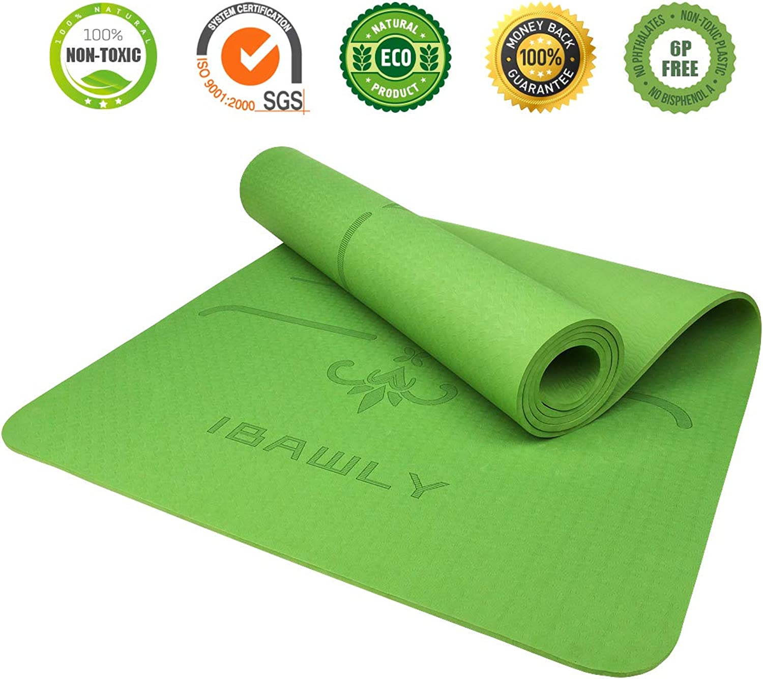 (Leaf Green) - IBAWLY Eco Friendly Non Slip Yoga Mat 1 4'' Extra Thick High Density Body Alignment System Hot Yoga Exercise Mat for Yoga Fitness Workout 72 x 24 with Carrying Strap 6mm
