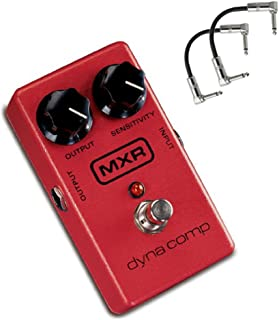 MXR M102 Dyna Comp Compact Guitar Compression Pedal with Output and Sensitivity Knobs Bundle with 2 Patch Cables