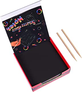 ULTNICE 2 Sets/ 204pcs Scratch Rainbow Art for Kids Scratch off Paper Children Art Crafts Set Kit Supplies Toys Black Scra...
