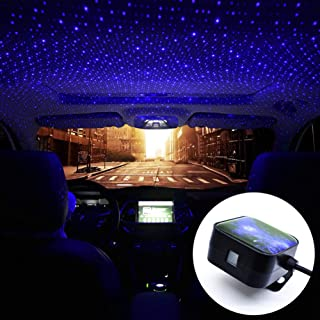 FOONEE Car Ambient Star Light, Car Atmosphere Light Projector, USB 100mw LED Decorative Armrest Box Star Romantic Auto Roof Projection for Car/Home/Party (Blue/Control)