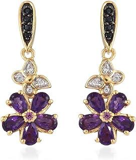 bcb80a661 Amethyst,Rhodolite Garnet, Black Spinel Earrings in 14K Gold Over Silver  2.25 Ct