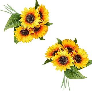 Gumolutin 2 Packs Artificial Sunflowers Bouquet Fake Sunflower Bunches for Home Table Centerpieces Arrangement Wedding DIY Decoration